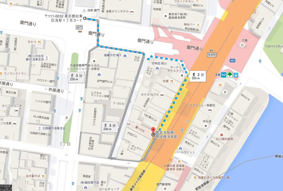 「都営浅草線 浅草駅」から浅草寺・雷門までの道順【地図】