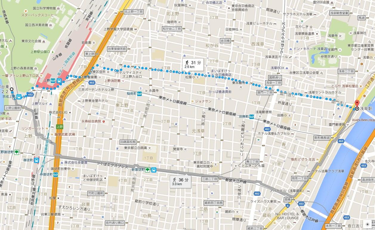 上野動物園(上野駅)から浅草寺(浅草駅)までのアクセス・行き方「徒歩」