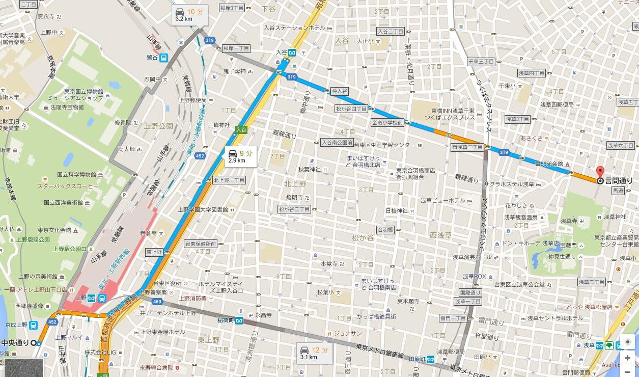 上野駅バス停から1つめの「TX(つくばエクスプレス)浅草駅バス停」で降りて雷門まで6分ほど歩くか、4つ目の「浅草寺北バス停」で降りて、お寺の裏側から境内に入る