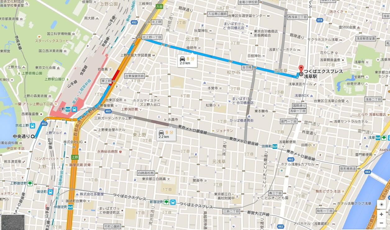 上野駅バス停から1つめの「TX(つくばエクスプレス)浅草駅バス停」で降りて雷門まで6分ほど歩く