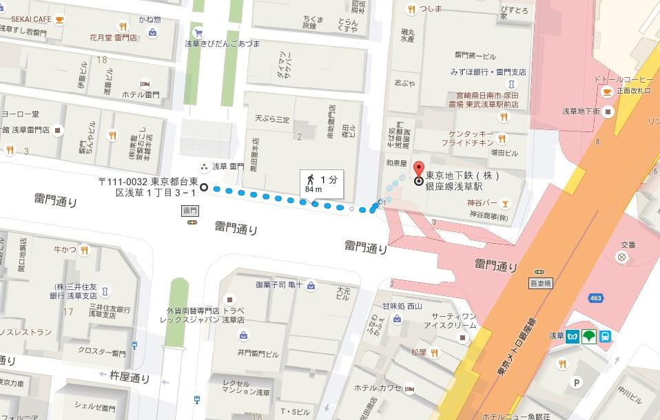 東京メトロ(銀座線)・浅草駅から「浅草寺・雷門」までの道順【地図】