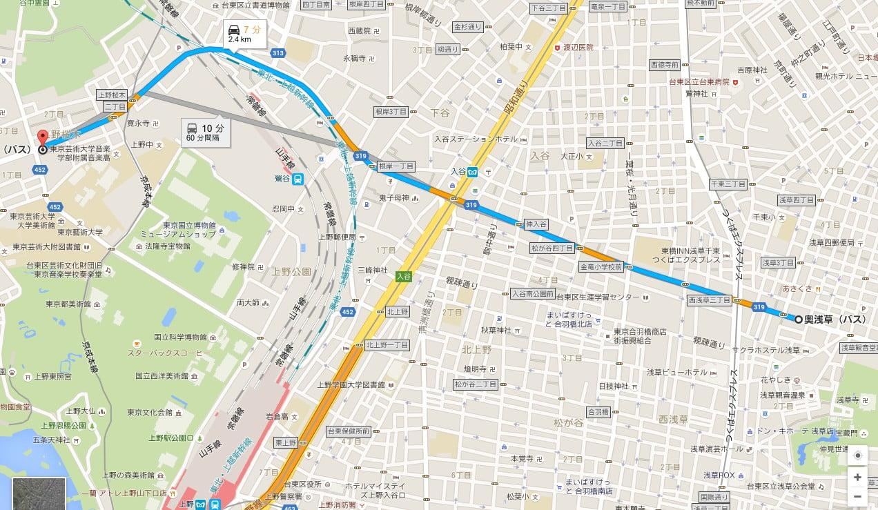 東京都バス「奥浅草バス停下車」下車