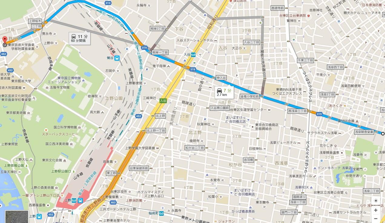 東京都バス「谷中バス停」下車