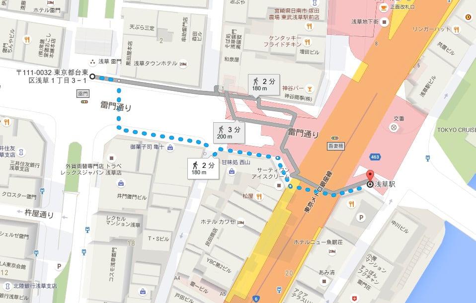 東武浅草駅から「浅草寺・雷門」までのアクセス・行き方【地図】