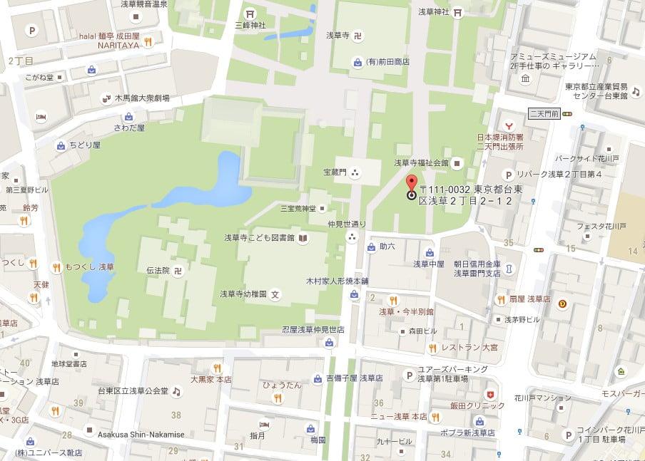 浅草・浅草寺の「小休憩場所(ベンチ)」【地図】