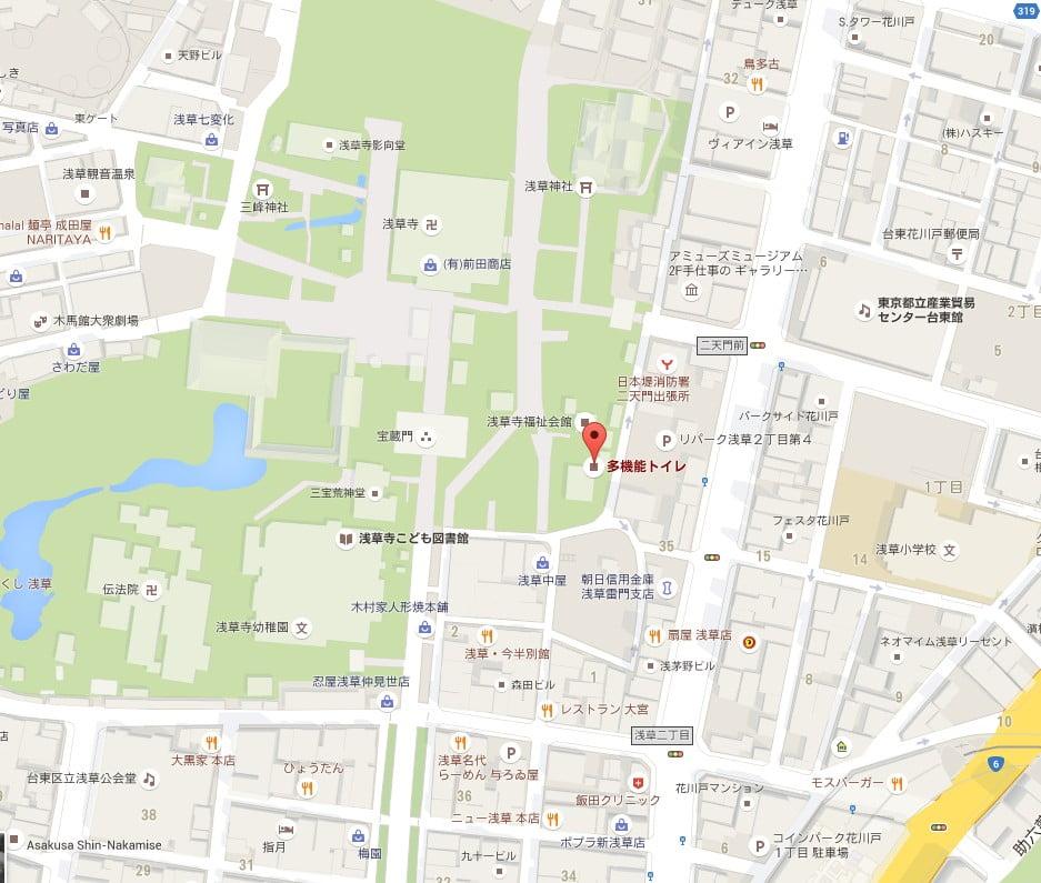 浅草境内・東側公衆トイレ【地図】