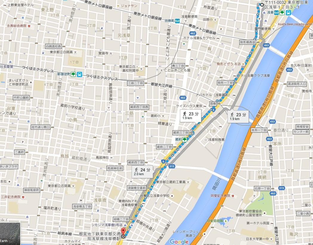 JR総武線・都営浅草線 浅草橋駅から浅草寺・雷門までのアクセス・行き方