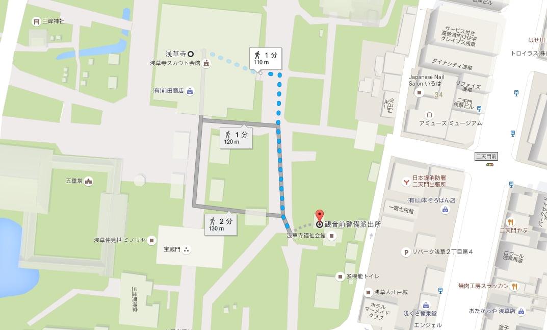 浅草寺から観音前交番まで