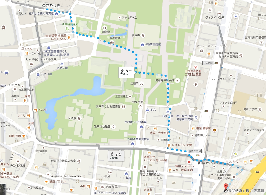 東京スカイツリーライン浅草駅から浅草花やしきまでのアクセス・行き方
