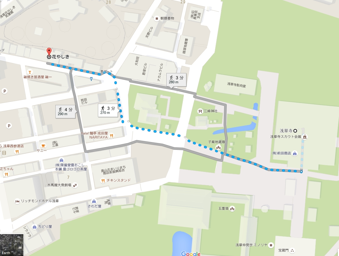 浅草・浅草寺から浅草・花やしきへのアクセス・行き方