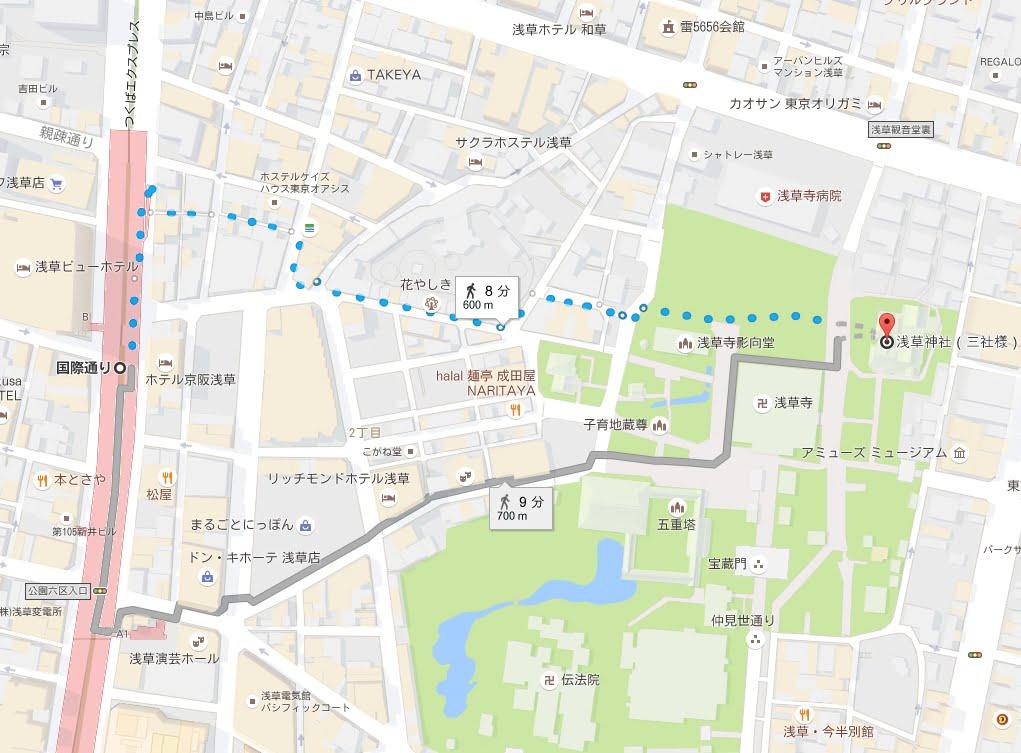つくばエクスプレス・浅草駅から浅草神社アクセス