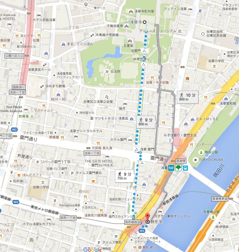 駒形堂から雷門までは歩いて4分ほどです。